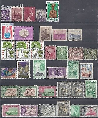 Selection of Used Stamps from Fiji-Ecuador-Falkland Islands-Egypt-Estonia+Others