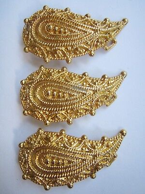 "Ladies/Womens Ornate Gold Tone, 3.75"" X 2"" Belt Buckles New Old Stock, Lot Of 3"