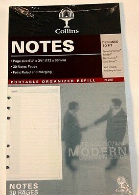 """Collins Notes 6 Ring 6 3/4"""" x 3 3/4"""" Planner Fits Filofax Day Runner Timer"""