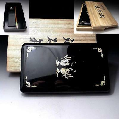 YP6: Japanese Lacquered Wooden Writing Box with Calligraphy tools, Seashell