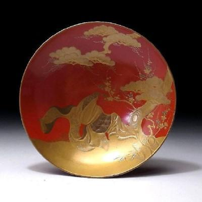 CH1: Antique Japanese Lacquered wooden Sake Cup, Superb Gold MAKIE, 19C