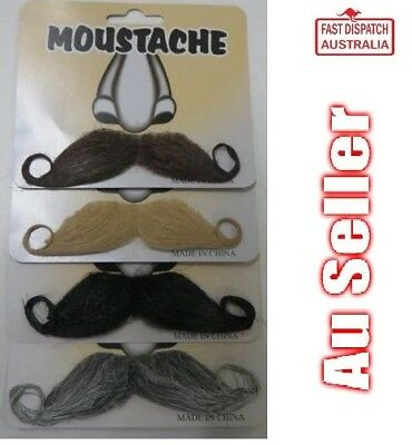 MOUSTACHE - Handlebar Mo Costume Accessory - Black, Brown, Blonde, Grey.....