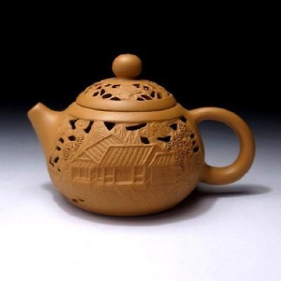 BB7: Vintage Chinese Yixing Clay Pottery Tea Pot, Carving work
