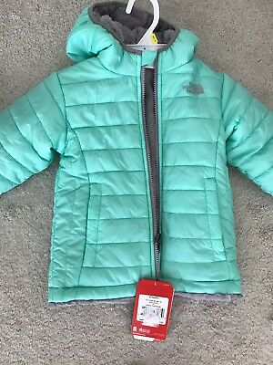 The North Face Kids Reversible Mossbud Swirl Surf Green Jacket 4T NWT $110