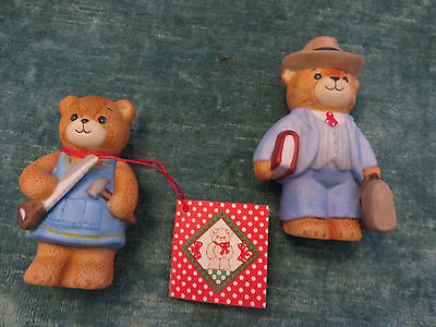 2 Lucy and me Dad Bears 1 has tophat book and suitcase 2 has saw & hammer Enesco