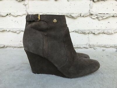1695946e932 EUC Tory Burch Milan Wedge Brown Suede Bootie Ankle Boot Sz US 8.5 M