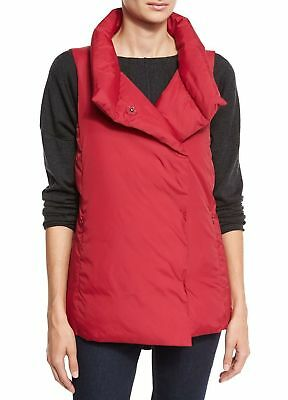 NWT $278 Eileen Fisher Red Weather Resistant Down Stand Collar Vest XL