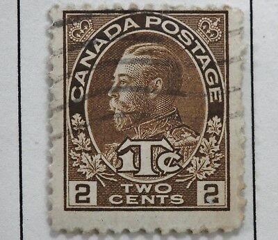 Canadian Stamp, Scott MR4, F HH, 2 Cent Brown Admiral ITC War Tax