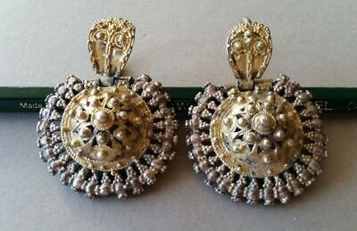 MAGNIFICENT UNIQUE jewelry Antique Ottoman silver filigree earrings with gilding