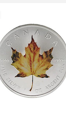 2014 1Oz Ounce Canadian Silver Maple Orange Leaf Colorized Coin 9999 Bu