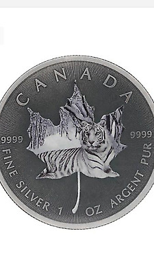 2015 1Oz Ounce Canadian Silver Maple White Tiger Antique Colorized Coin 9999