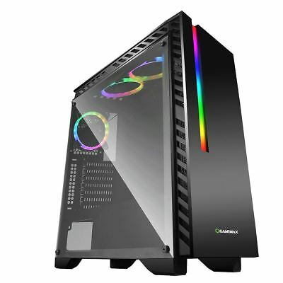 Game Max Chroma RGB LED Mid ATX Gaming PC Case Clear Glass Side Panel USB 3.0