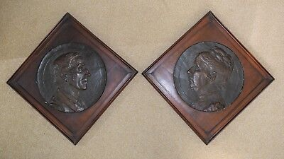 Germany: A fine pair of framed plaster portrait plaques by H. Kaufmann, 1891.