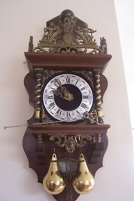 Antique Dutch Zaandam Wall Clock Brass Weights Pendulum For Spares or Repair