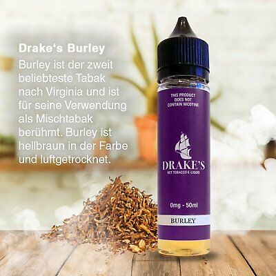 Drakes E-Liquid Burley 50ml 0mg Short Fills, authentischen Tabakgeschmack