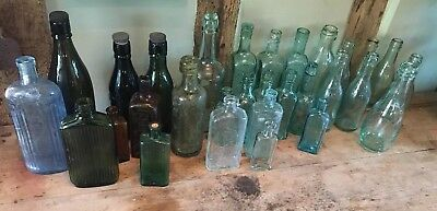 Job Lot  Collection of Antique old Vintage Glass Bottles - various advertising 1