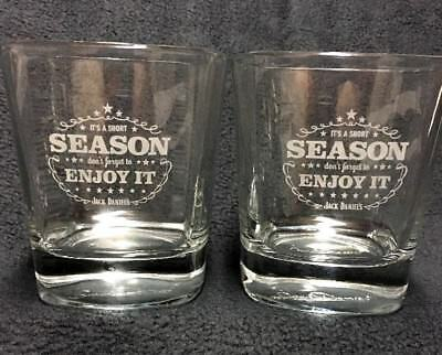 "1 Pair of Jack Daniels, ""Tis The Season"" Embossed Signature Rocks Glasses, EUC"