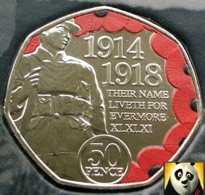 2018 ISLE OF MAN 50p Pence Coloured Armistice Day WW1 Remembrance Poppy Unc Coin