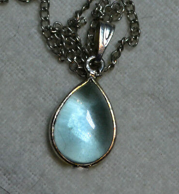 Vintage Art Deco 14k white gold antique natural Blue Aquamarine gemstone pendant