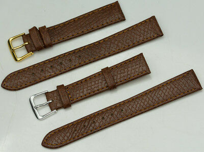 16mm Genuine leather brown watch strap band gold silver buckle
