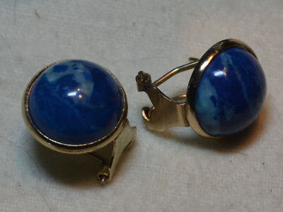 Vintage 9ct 9k Gold genuine Egyptian Blue Lapis Lazuli gemstones Earrings Estate