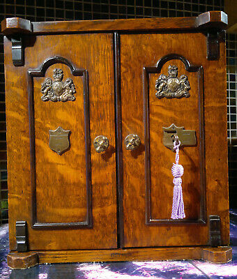 c1880 Victorian Safe Smokers Cabinet~Tiger Oak~Desktop Stationary Box?