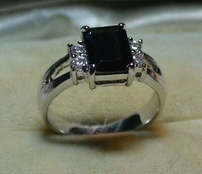 Vintage antique 14k White gold natural Black Sapphire estate ring SIZE 8, Q