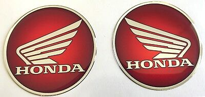 2pcs x Honda (dia 60mm) logo in red. Domed 3D Stickers/Decals