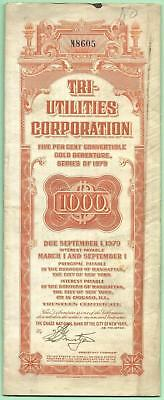 1929 Tri-Utilities Corporation Gold Debenture Certificate 1st 3 coupons missing