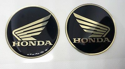2pcs x Honda (dia 60mm) logo in gold/black. Domed 3D Stickers/Decals.