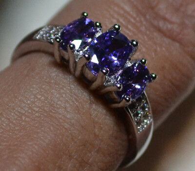Vintage 14k white gold natural Amethyst gemstones estate ring size 9, R 1/2