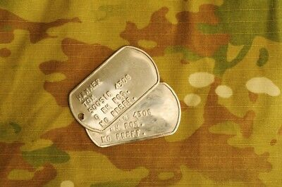 Personalised Army Id Military Dog Tags - Free Custom Text, Necklace And Silencer