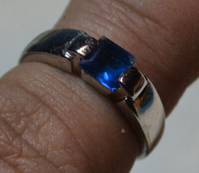 Vintage 14k white gold natural Kashmir Blue Sapphire estate ring size 6 1/2, N