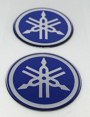2pcs x Yamaha (ø 50mm) logo in blue. Domed 3D Stickers/Decals