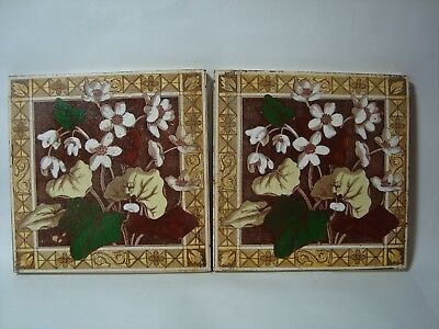 2 Antique Floral Wall Tiles.