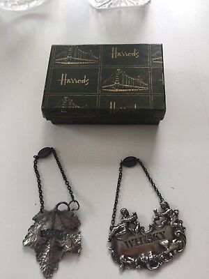 Harrods Silver Metal Whisky/Port Decanter Labels