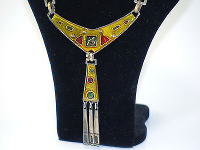 altes Emaille-Collier DLH DEPOSE Schmuck Email modernist vintage enamel necklace
