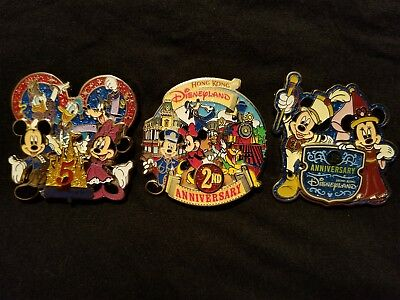 Disneyland Hong Kong Anniversary 3 pins limited Edition HKDL Disney 3D Pin lot