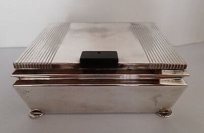Antique Vintage Art Deco Silver Chrome Plated Ciggarette Box
