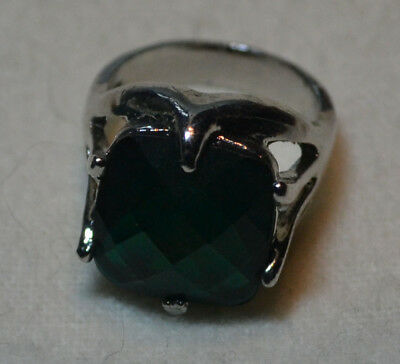 Vintage Sterling Silver antique natural Chrome Diopside gemstone ring sz 7, O
