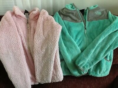 Lot of 2 Girls Pink North Face Fleece Jackets-Size Large 14/16