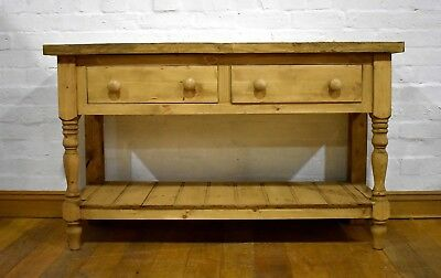 Antique style farmhouse rustic reclaimed pine long console - side table