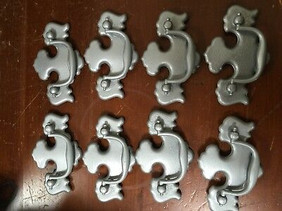 Lot of 8- Brass Plated Drawer Pulls--Hammered Silver Painted--matching