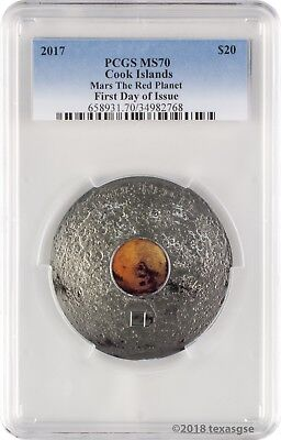 2017 $20 Cook Islands Mars The Red Planet 3 oz. Silver Coin PCGSMS70 FD