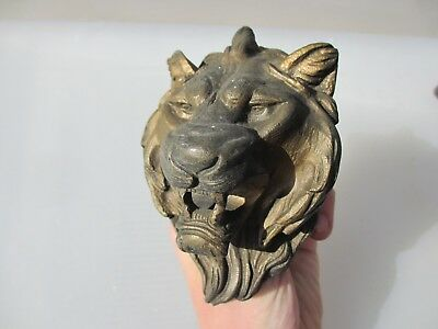 Georgian Brass Lion Head Ormolu Mount Hardware Victorian Antique Lions Old