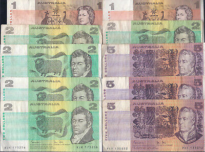 Australia, $1 - $5 Dollars, 10 Notes, Mixed Condition!