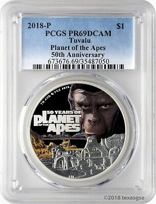 2018-P $1 Tuvalu 50 Years of Planet of the Apes 1oz Silver Coin PCGS PR69DCAM