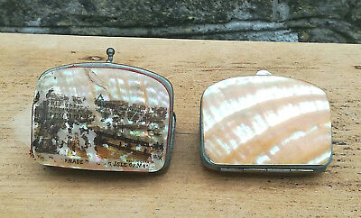 Pair Vintage Antique Mother Of Pearl Victorian Coin Purses Isle Of Man Souvenir