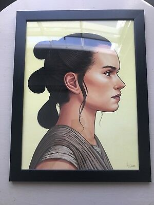 STAR WARS Art Print poster Rey Daisy Ridley MONDO Mike Mitchell Framed