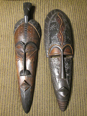 Set of 2 large wooden wall masks from Ghana / Africa (#108)